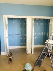 blue walls closet before painting