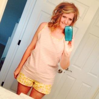 sewing homemade pink and yellow pajamas