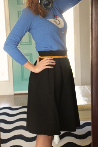 modcloth black imperative narrative skirt and j crew hen sweater